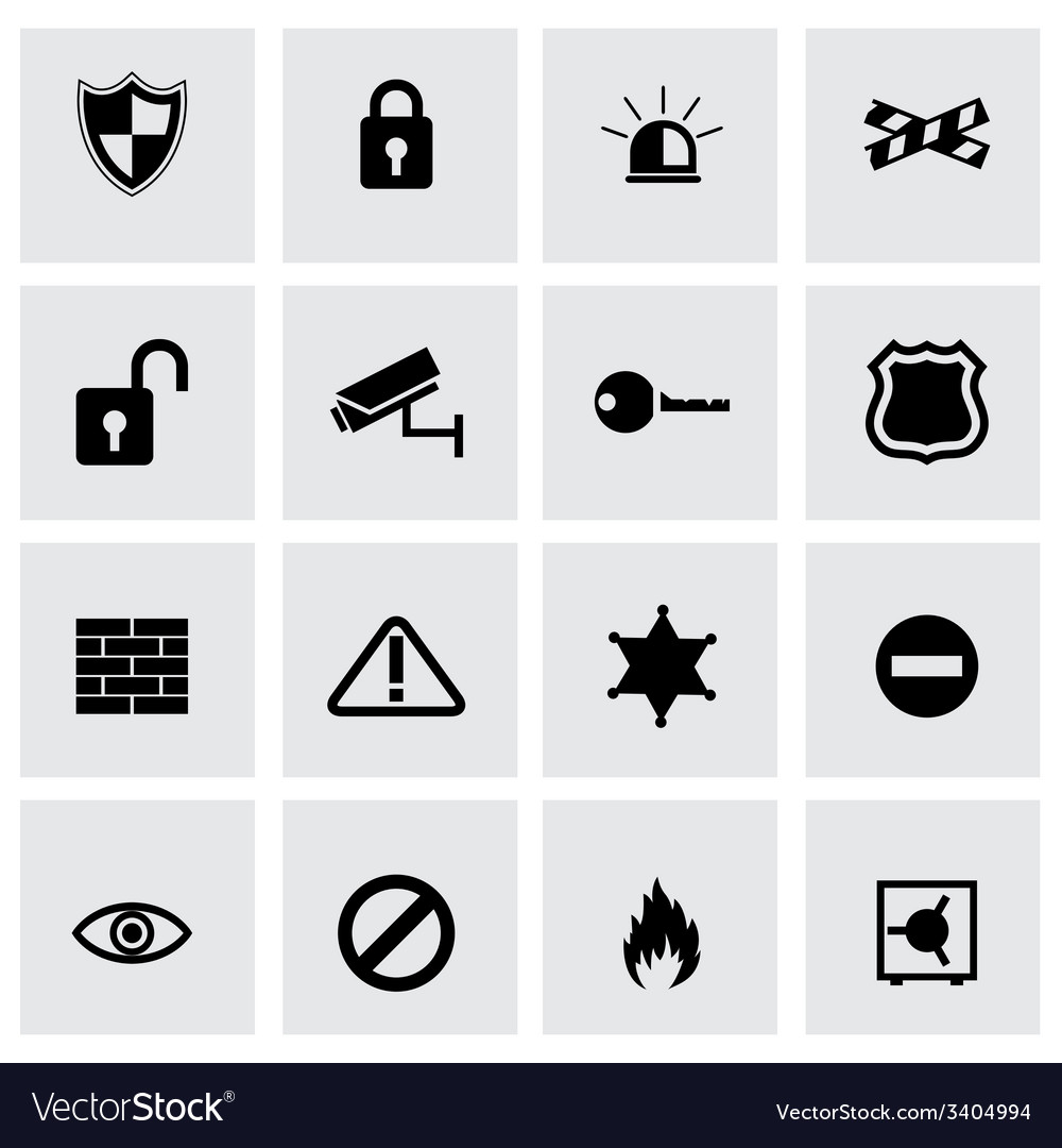 Black security icons set vector   Price: 1 Credit (USD $1)