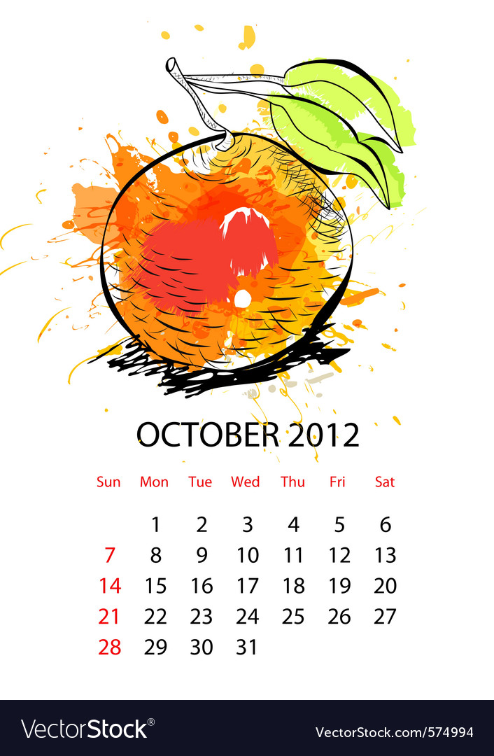 Calendar with fruit for 2012 october vector | Price: 1 Credit (USD $1)