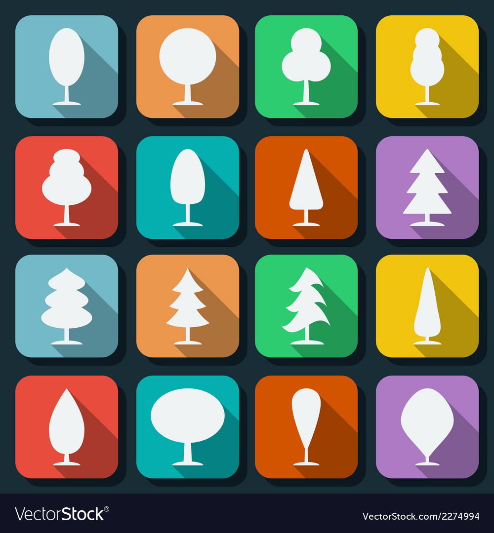 Cartoon trees silhouettes vector | Price: 1 Credit (USD $1)