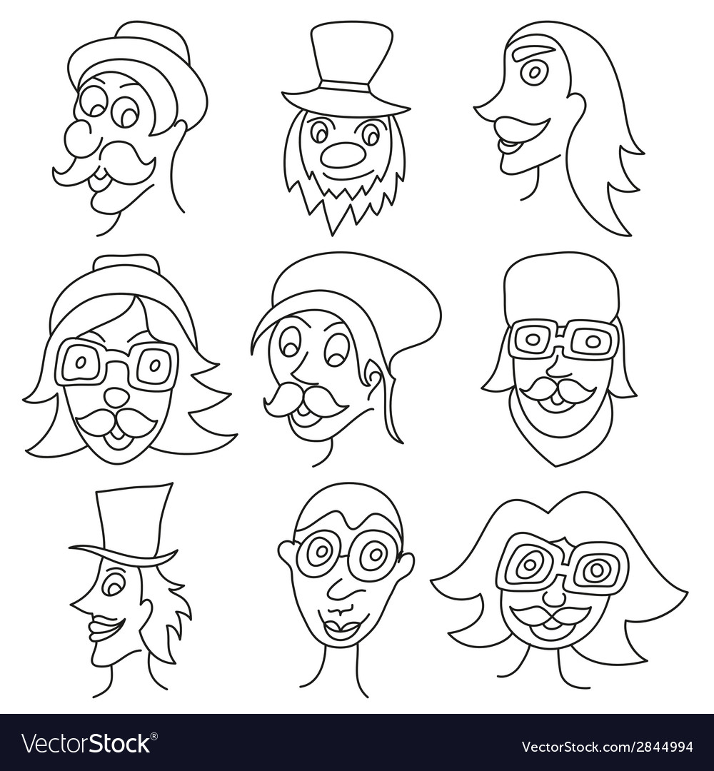 Different comic faces hipster faces with mustaches vector | Price: 1 Credit (USD $1)