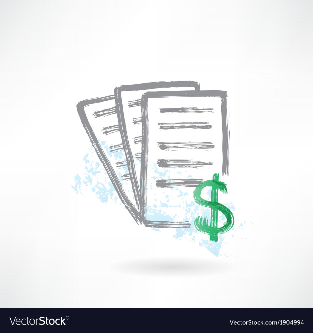 Document with dollar grunge icon vector | Price: 1 Credit (USD $1)