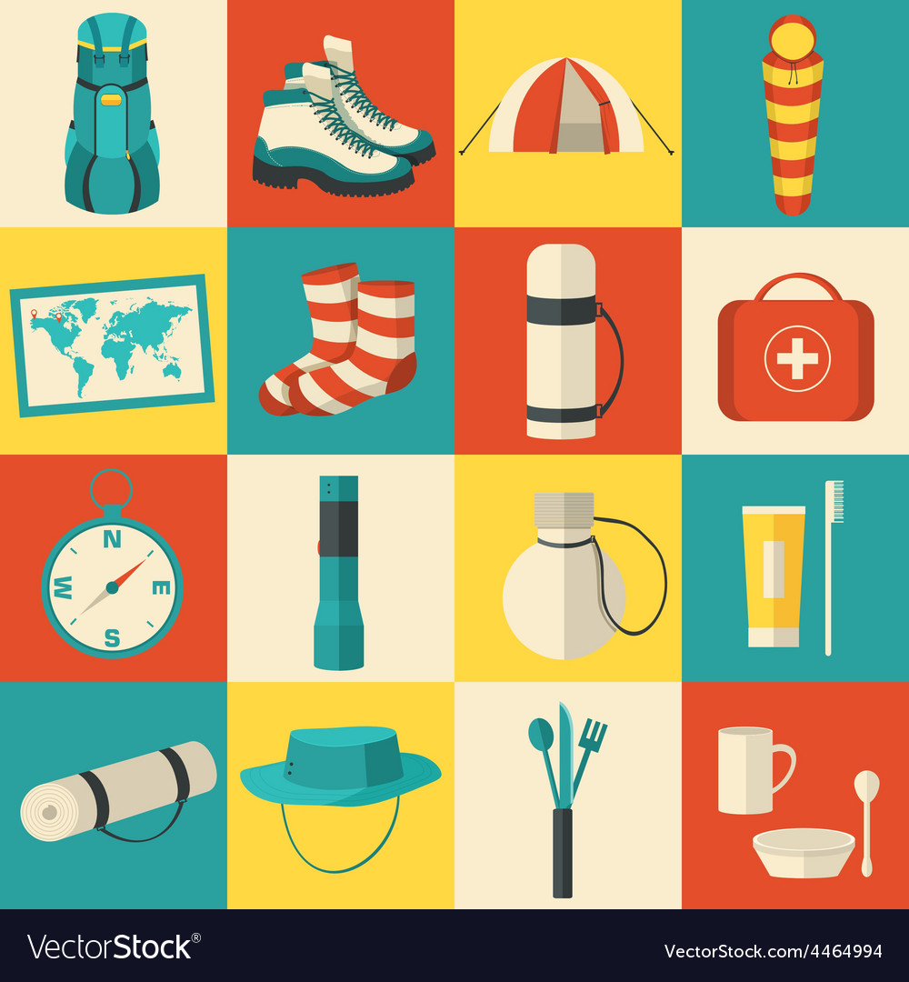 Flat sticker colorful tourist equipment vector | Price: 1 Credit (USD $1)