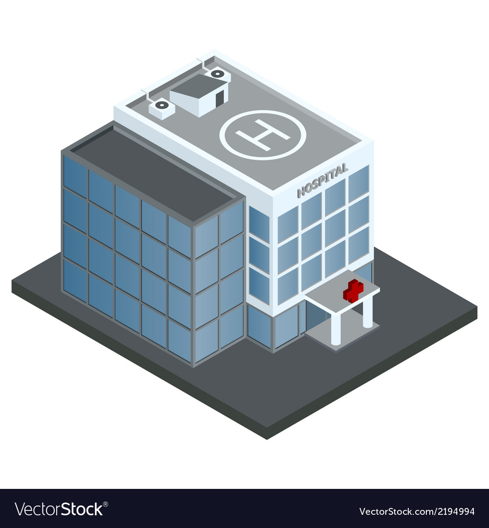 Hospital building isometric vector | Price: 1 Credit (USD $1)