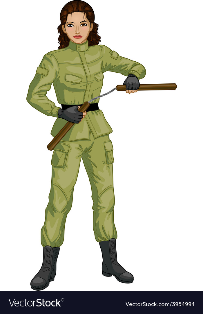 Indonesian nunchuck girl in military uniform vector | Price: 1 Credit (USD $1)