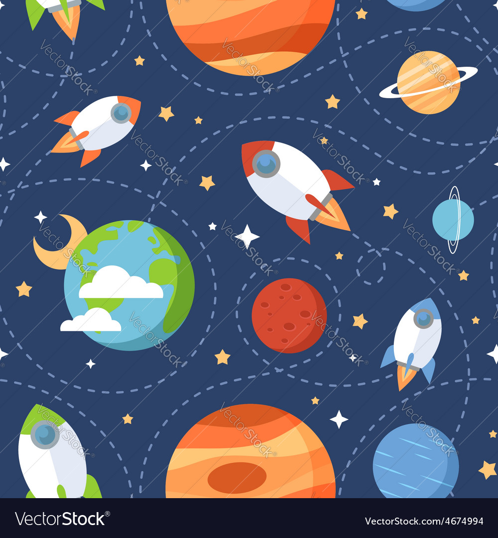 Seamless children cartoon space pattern vector | Price: 1 Credit (USD $1)