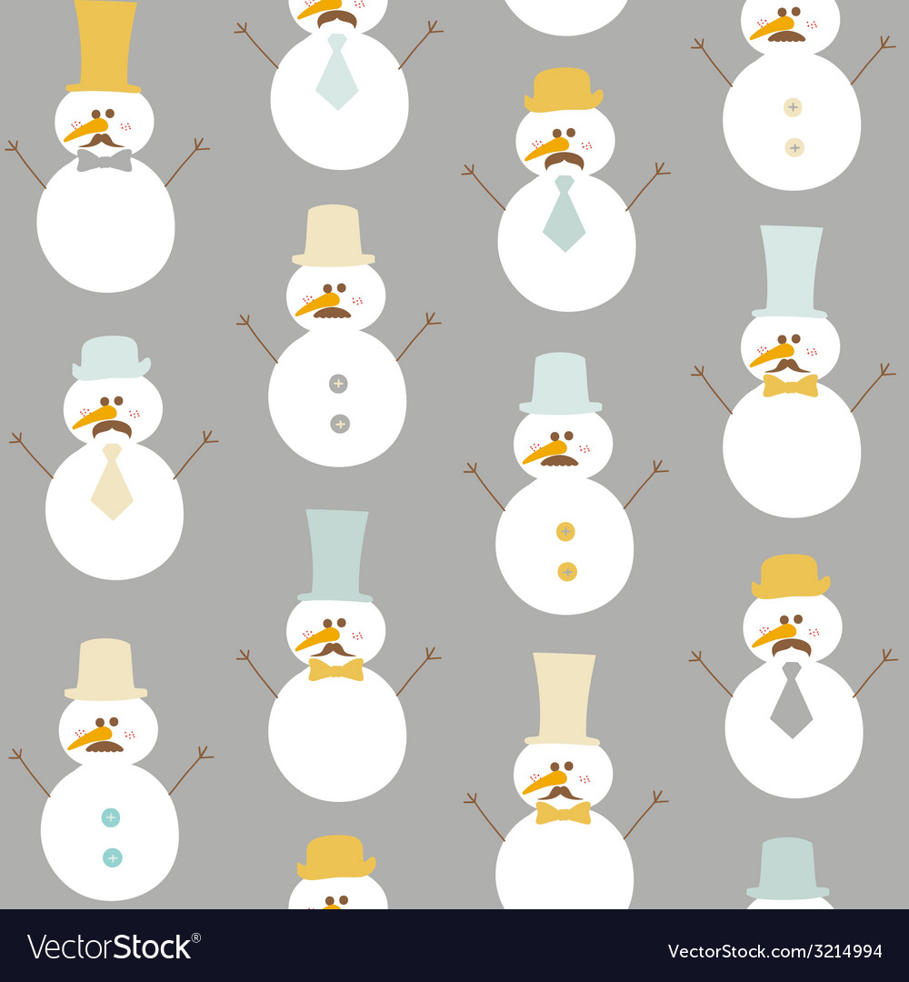 Seamless winter background - retro snowman vector | Price: 1 Credit (USD $1)