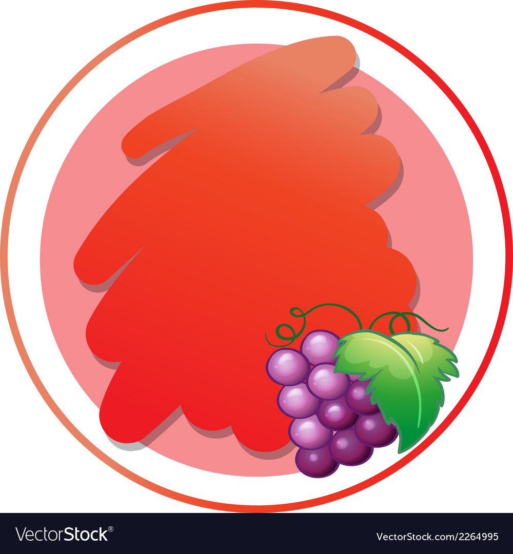 A round empty template with grapes vector | Price: 1 Credit (USD $1)