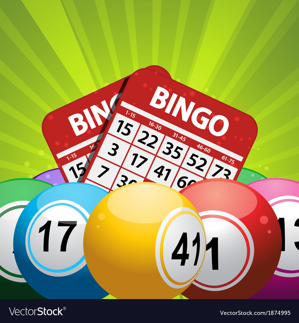 Bingo balls and card background on a green vector | Price: 1 Credit (USD $1)