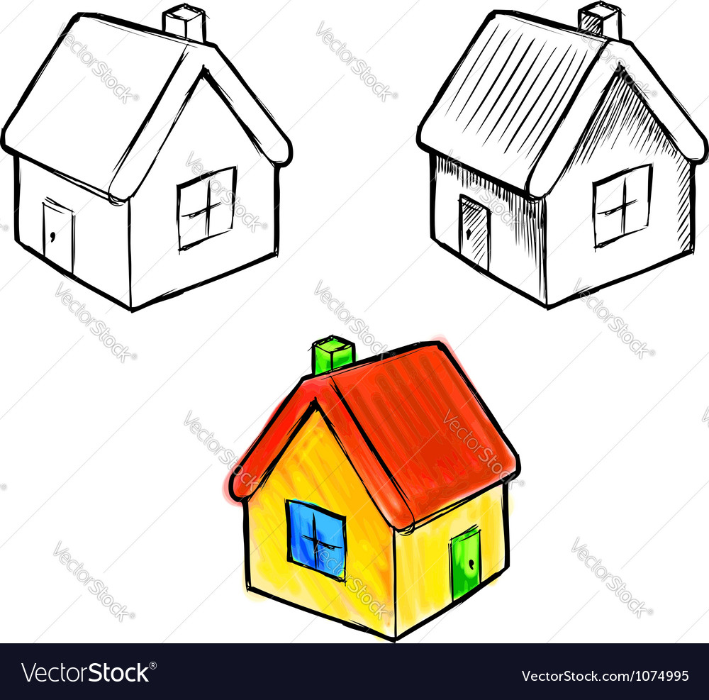 Cute little house sketch vector | Price: 1 Credit (USD $1)