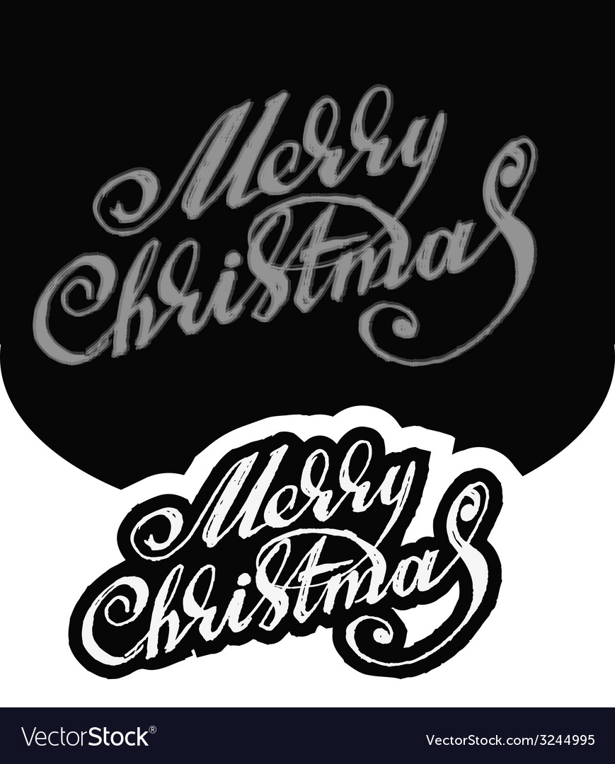 Merry christmas hand-written text vector | Price: 1 Credit (USD $1)