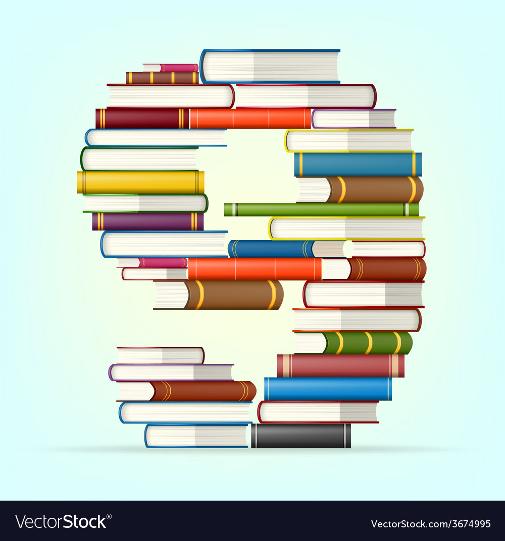 Numbers from stacks of multi colored books vector | Price: 1 Credit (USD $1)