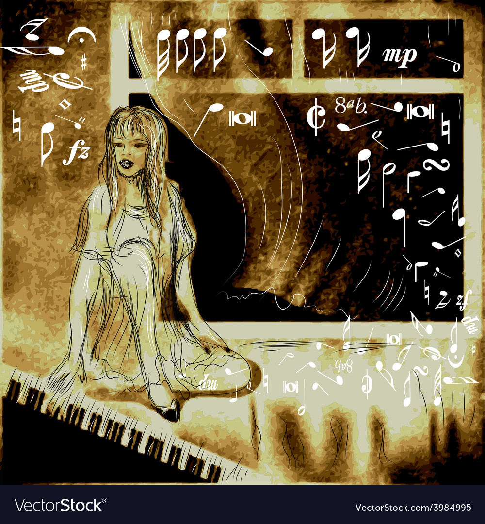 Piano and woman vector | Price: 1 Credit (USD $1)