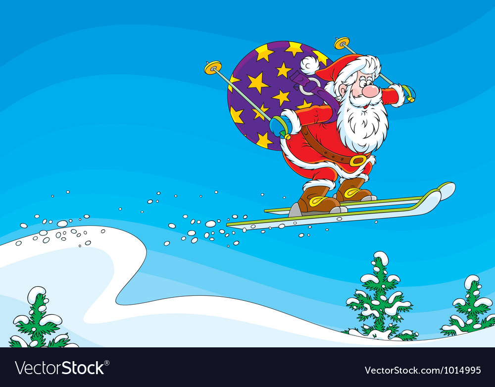 Santa claus ski jumper vector | Price: 3 Credit (USD $3)