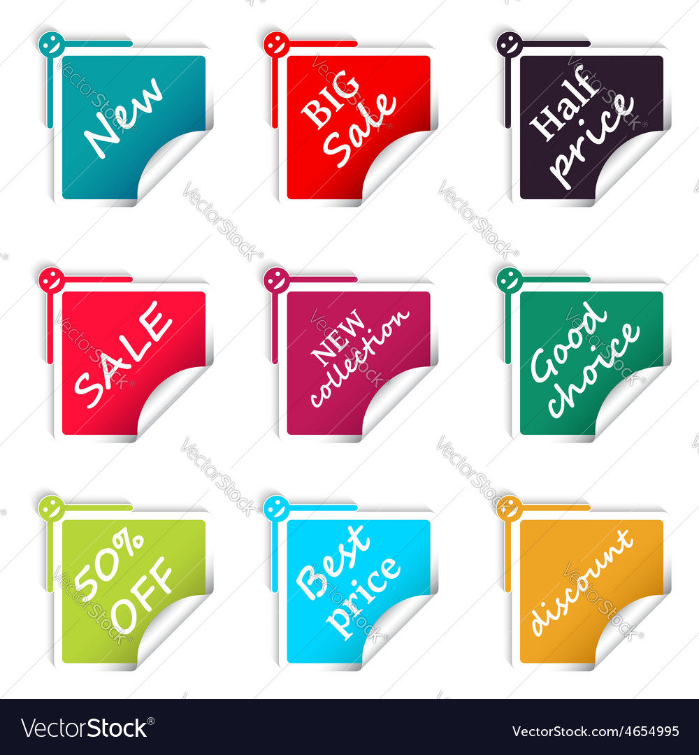 Set of sale square stickers web shop vector | Price: 1 Credit (USD $1)