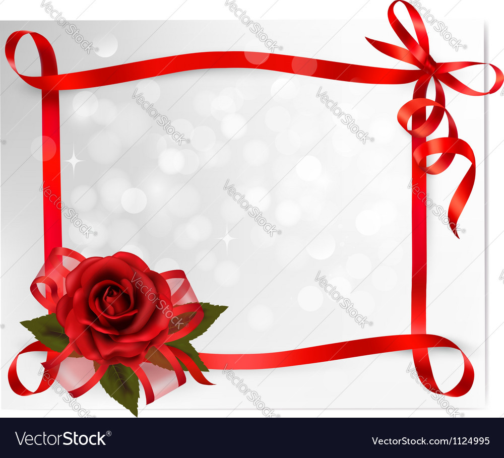Valentines day background red rose with gift red vector | Price: 1 Credit (USD $1)