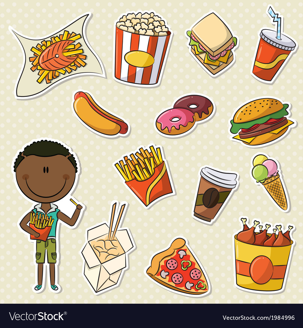 African-american boys with take away food vector | Price: 3 Credit (USD $3)