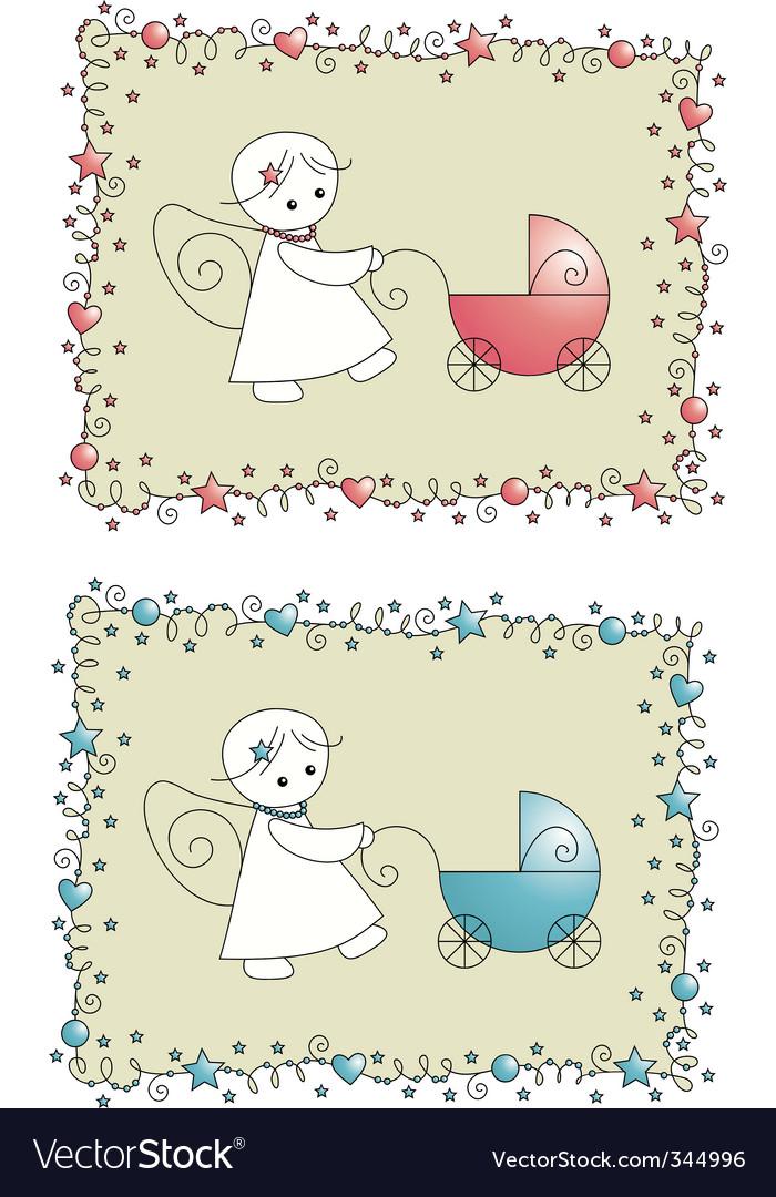 Baby birth card vector | Price: 1 Credit (USD $1)