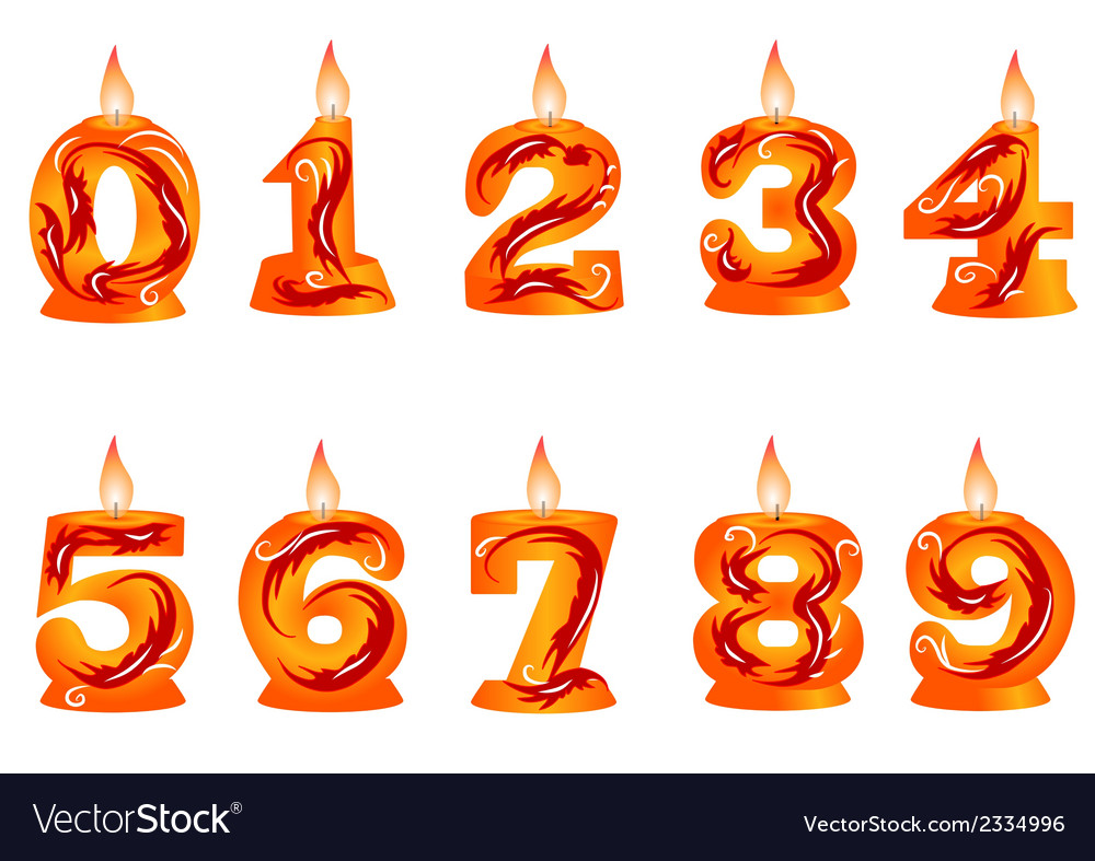 Birthday candle as numbers vector | Price: 1 Credit (USD $1)