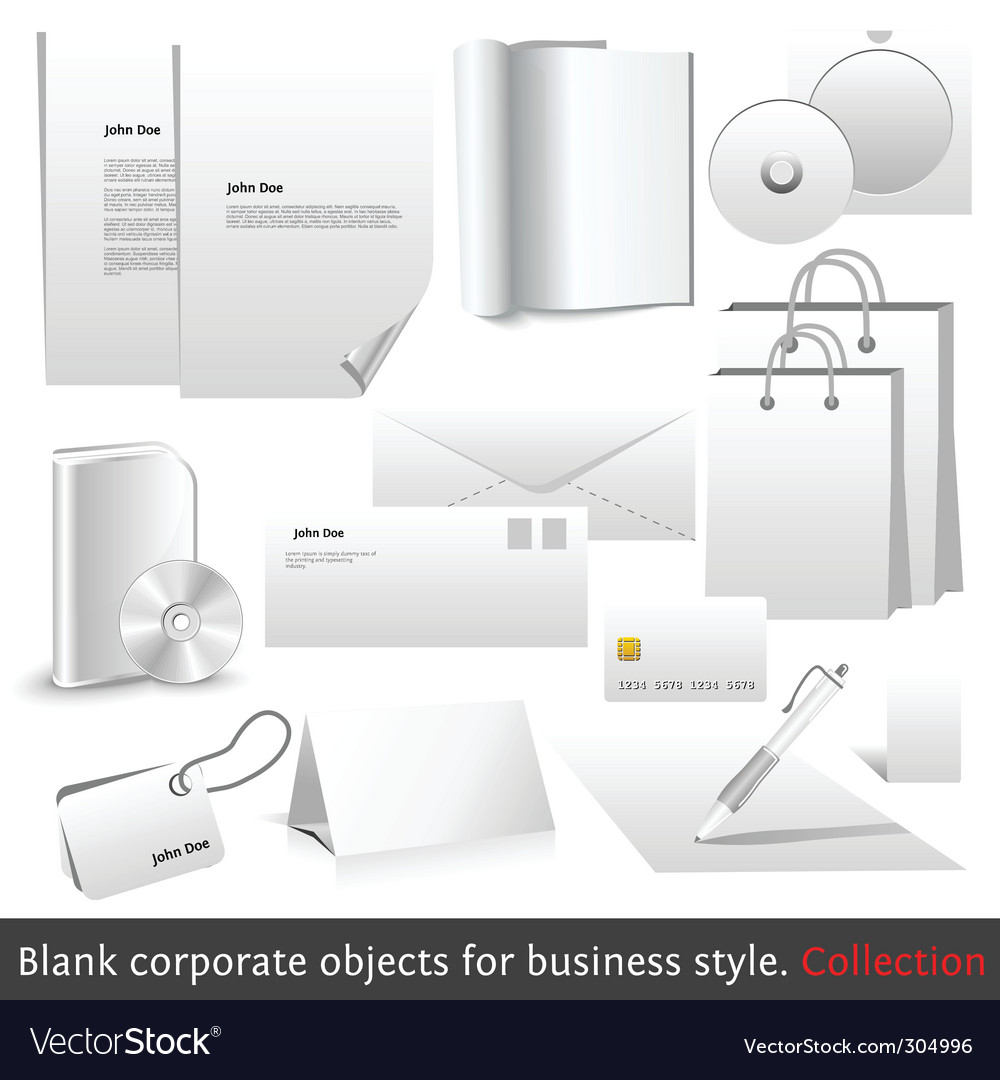 Blank corporate objects vector | Price: 1 Credit (USD $1)
