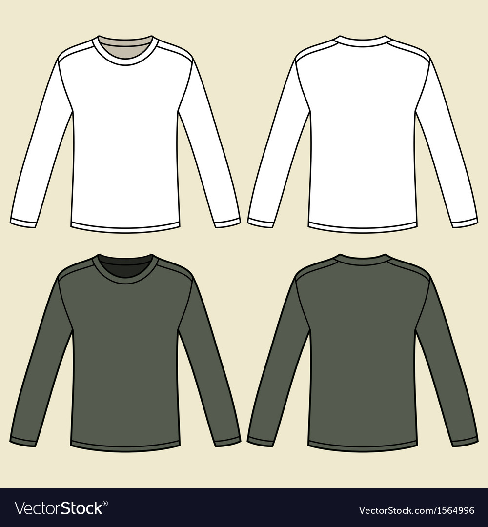 Blank long-sleeved t-shirts template vector | Price: 1 Credit (USD $1)