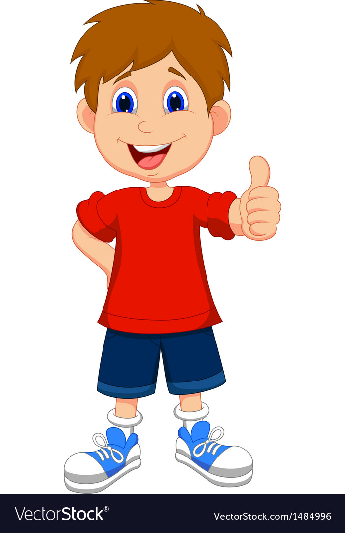 Cartoon boy giving you thumbs up vector | Price: 1 Credit (USD $1)