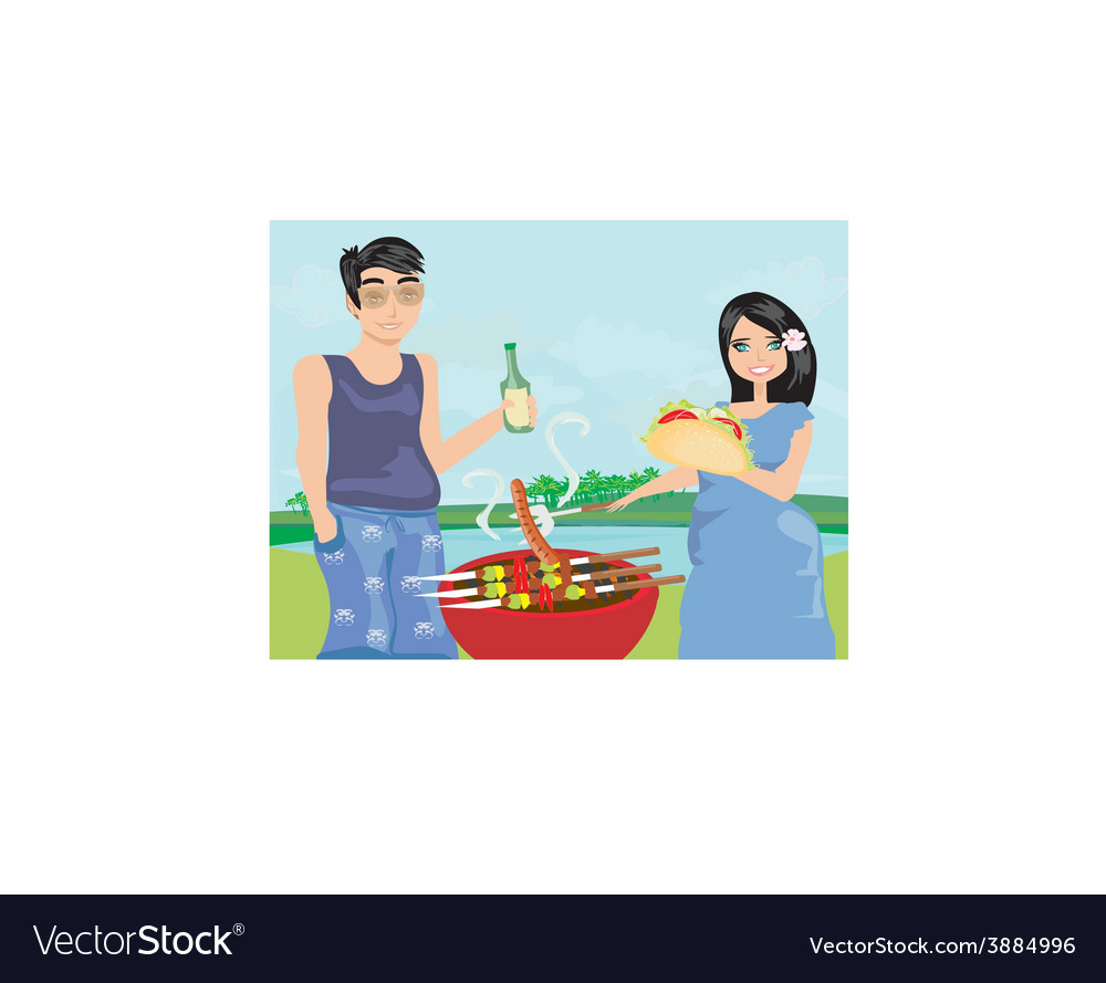 Couple outdoor grilling meat vector | Price: 1 Credit (USD $1)