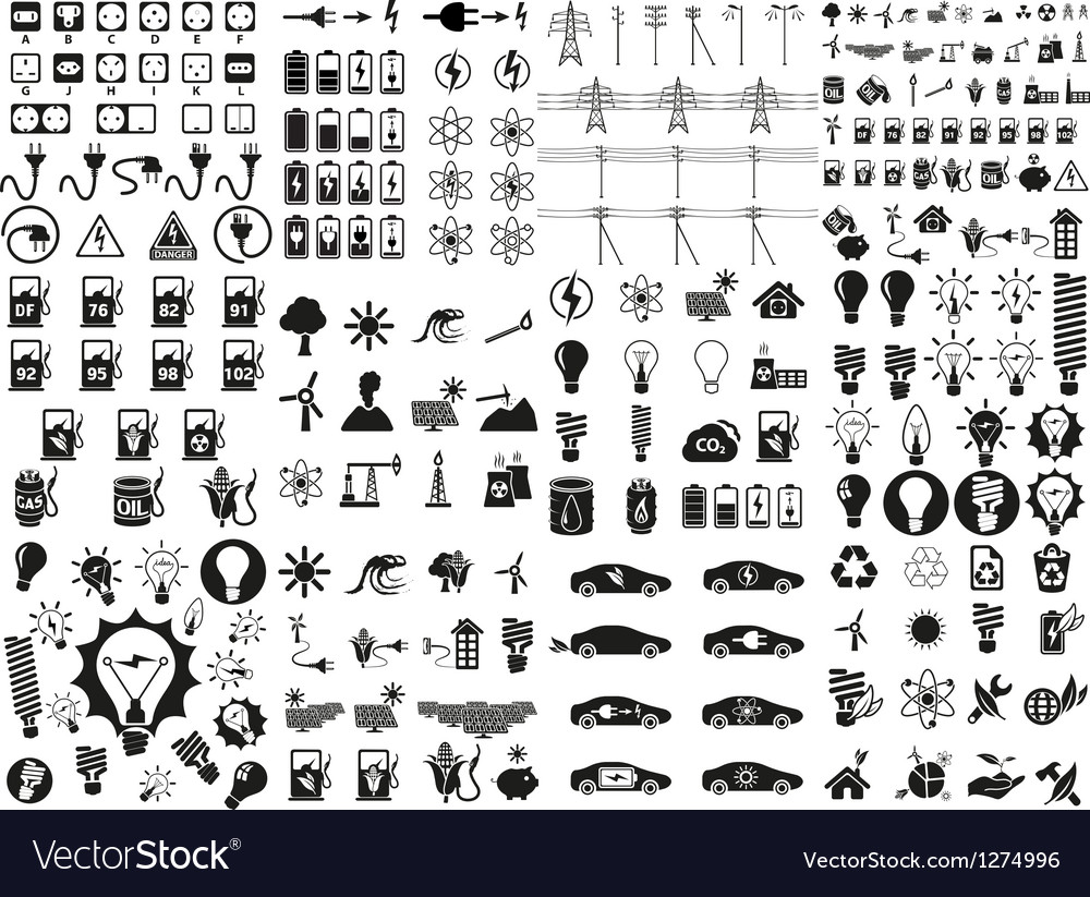 Energy and resource icon set vector | Price: 3 Credit (USD $3)