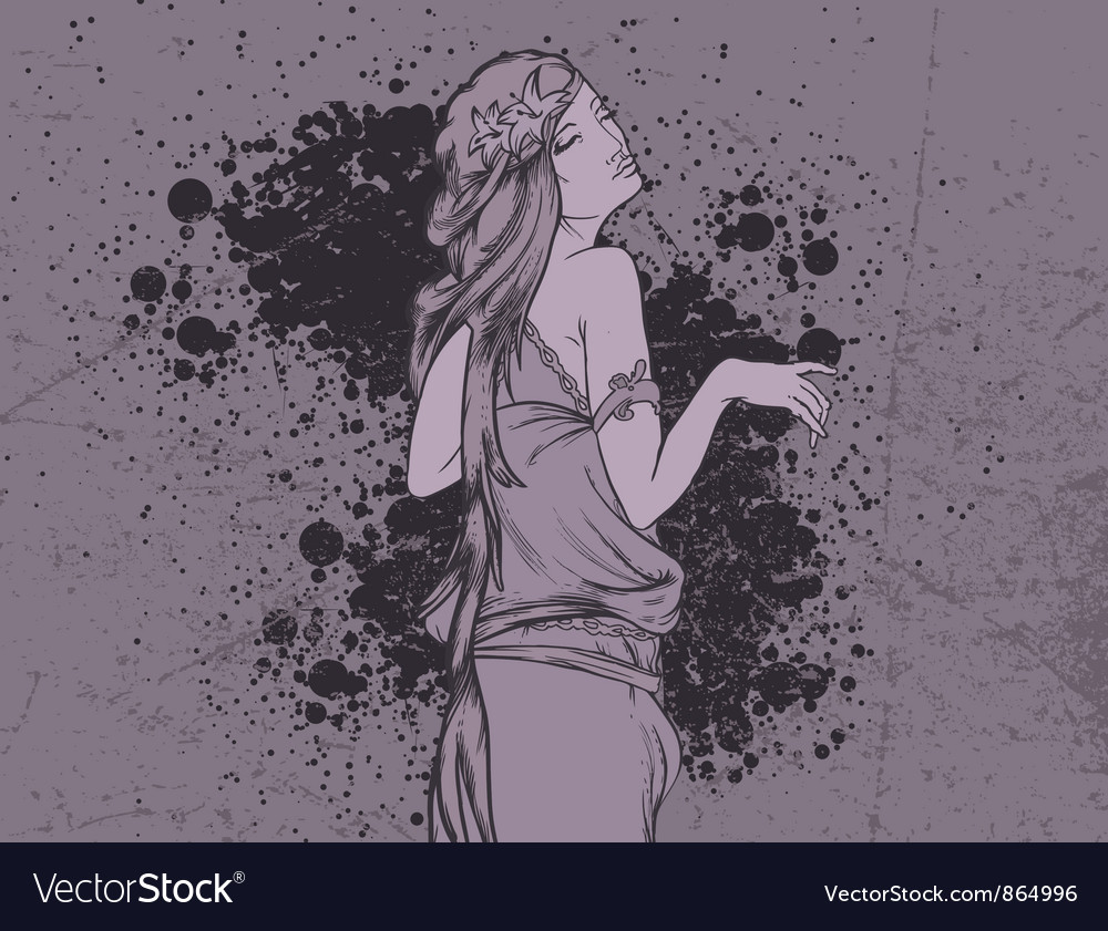 Grunge wallpaper with lady vector | Price: 1 Credit (USD $1)