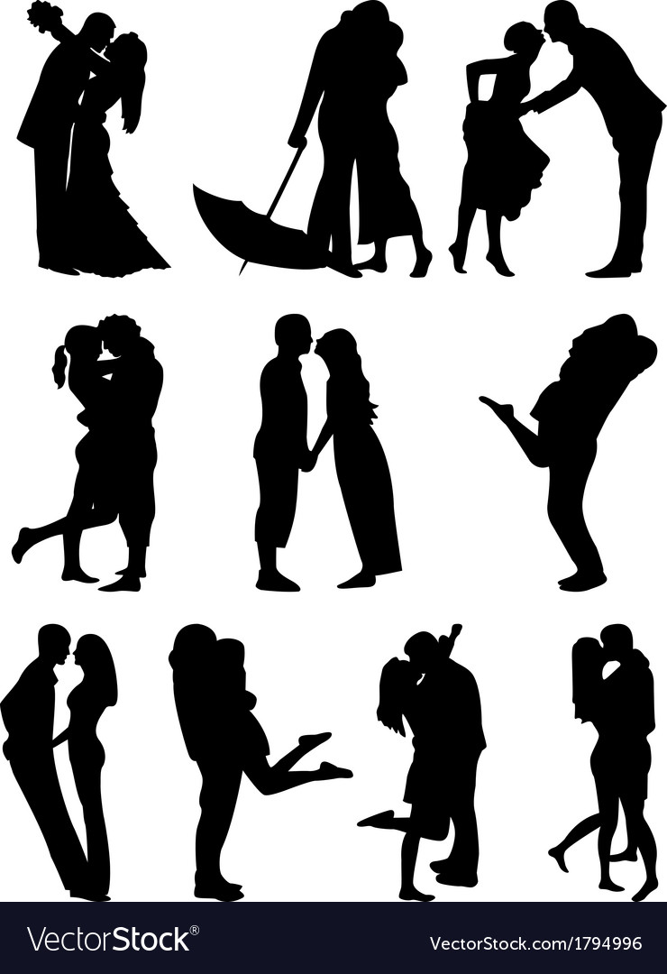 Romantic couples cilhouettes vector | Price: 1 Credit (USD $1)
