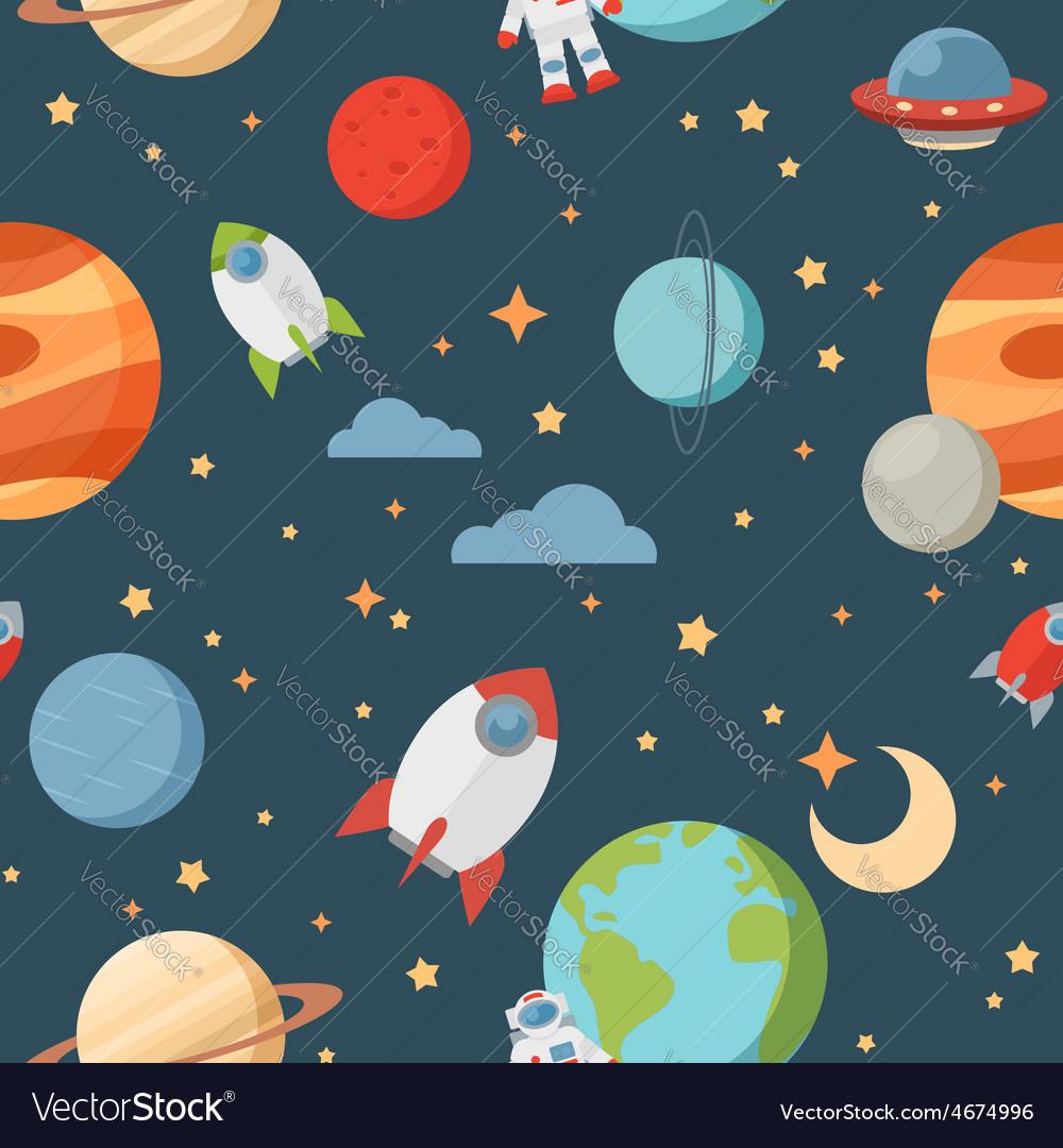 Seamless children cartoon space pattern vector