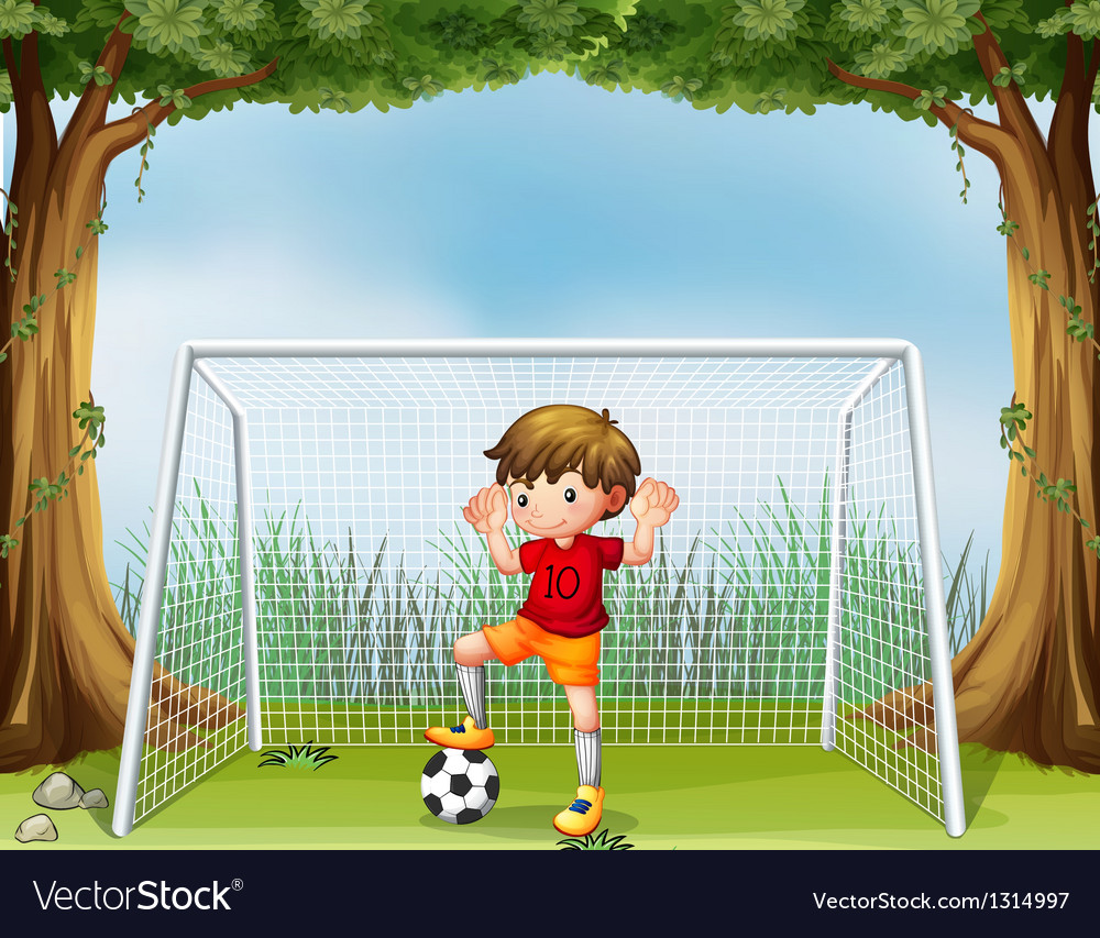 A little soccer player in his red uniform vector | Price: 1 Credit (USD $1)