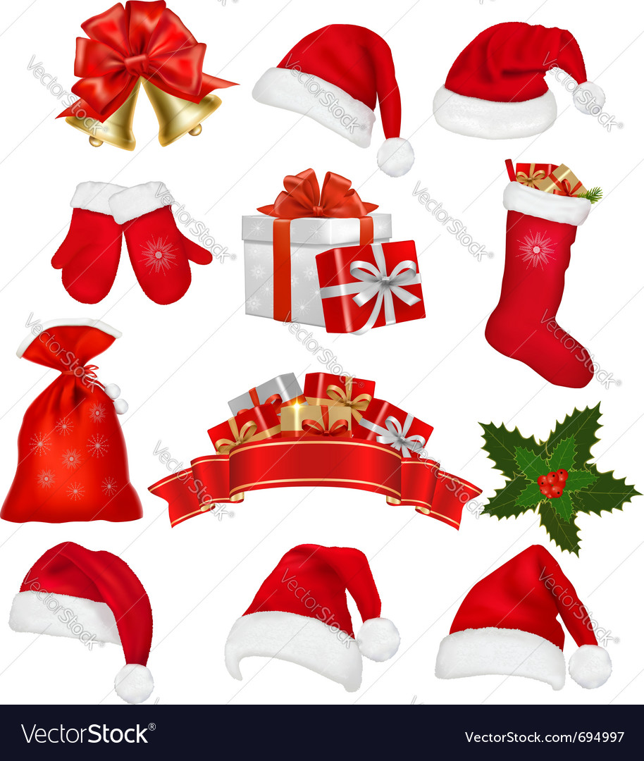 Big set of red santa hats and clothing vector | Price: 3 Credit (USD $3)