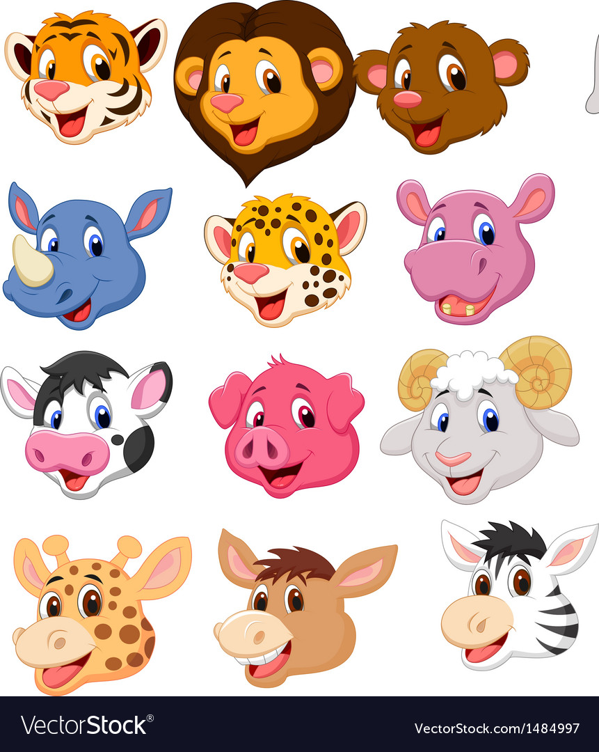 Cartoon animal head collection set vector | Price: 5 Credit (USD $5)