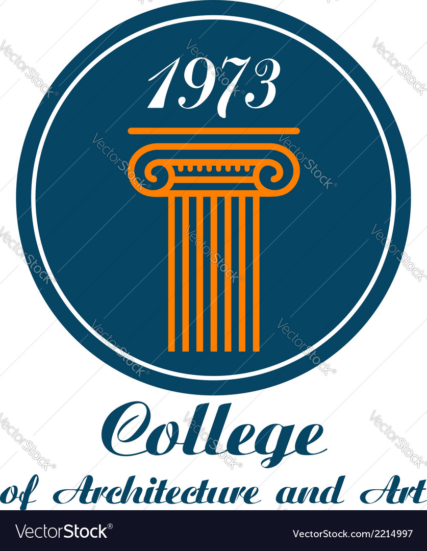 College of architecture and art emblem vector | Price: 1 Credit (USD $1)