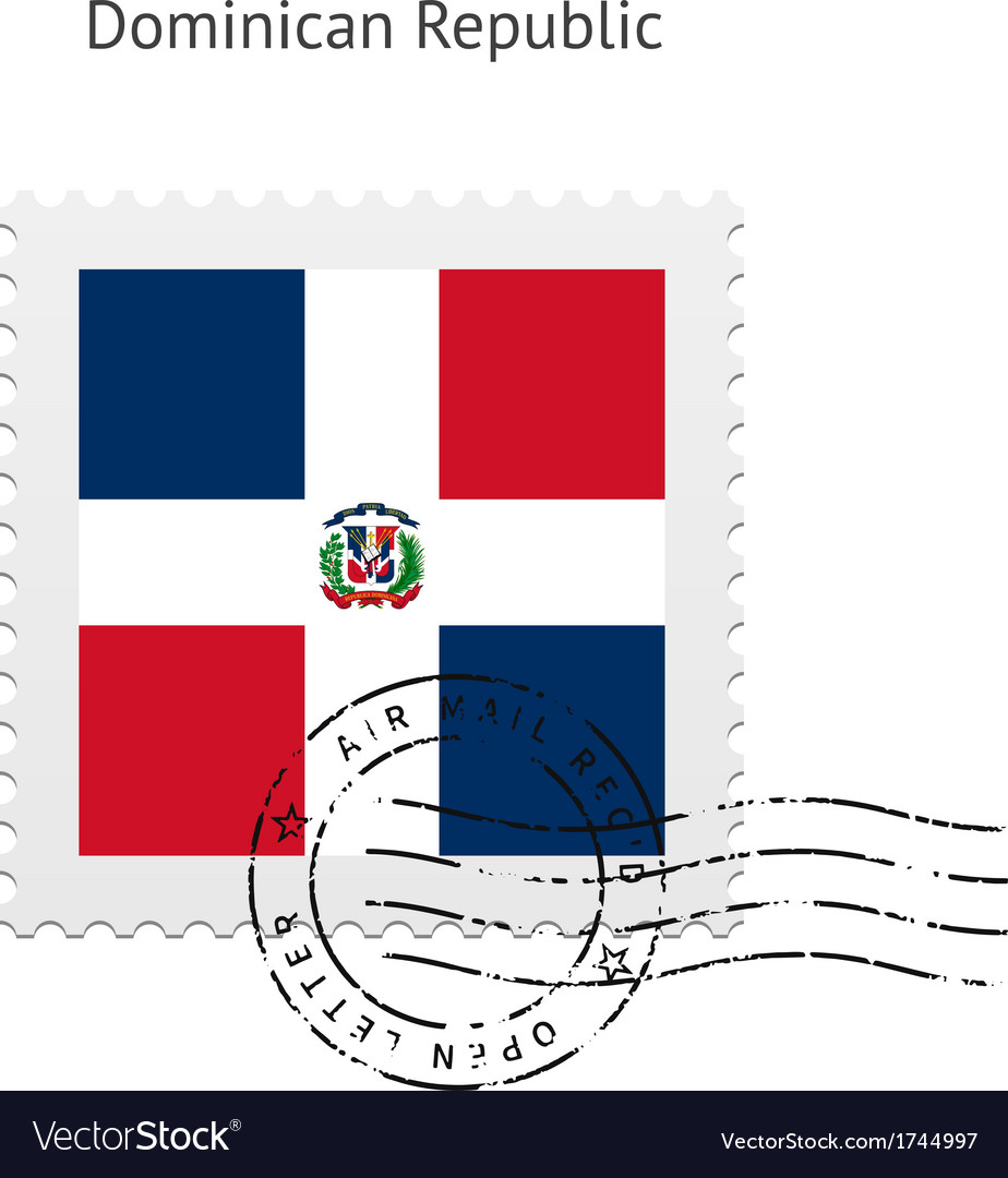 Dominican republic flag postage stamp vector | Price: 1 Credit (USD $1)