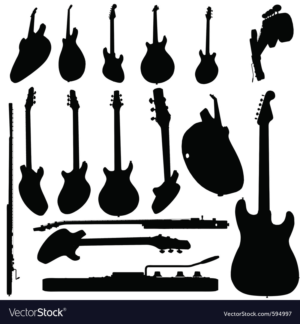 Electric guitar silhouette vector | Price: 1 Credit (USD $1)
