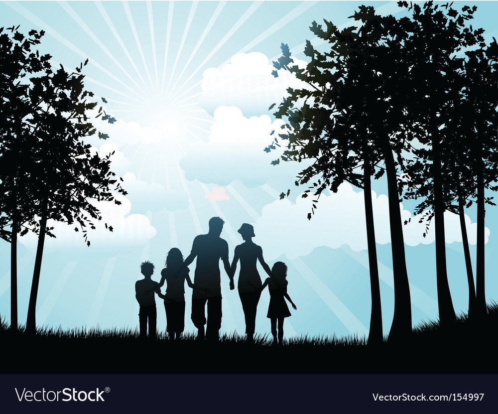 Family walking silhouette vector | Price: 1 Credit (USD $1)