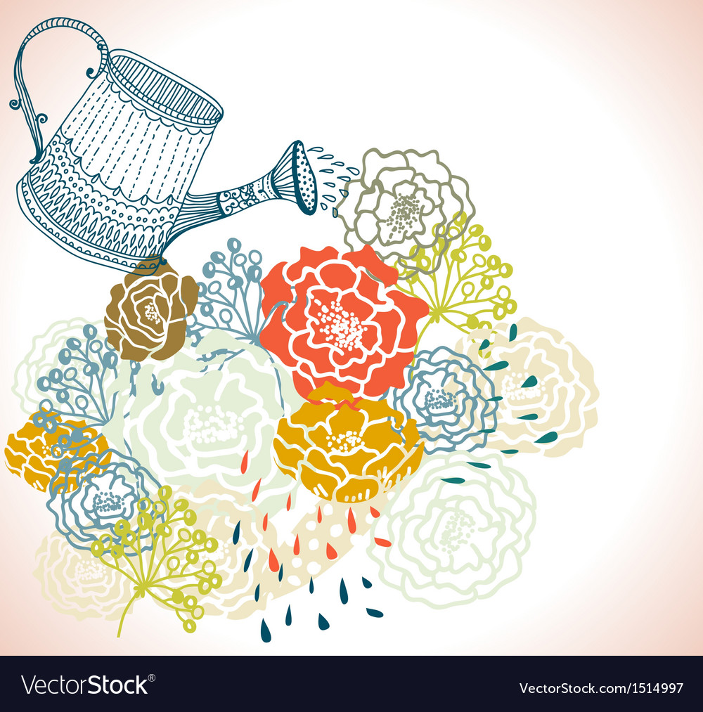 Floral background with watering can vector | Price: 1 Credit (USD $1)
