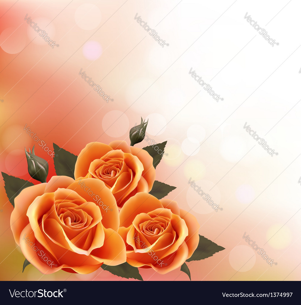 Holiday background with three beautiful flowers vector | Price: 3 Credit (USD $3)