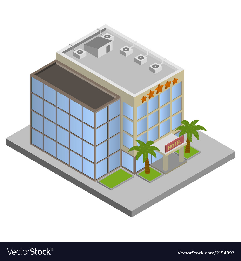 Hotel building isometric vector | Price: 1 Credit (USD $1)