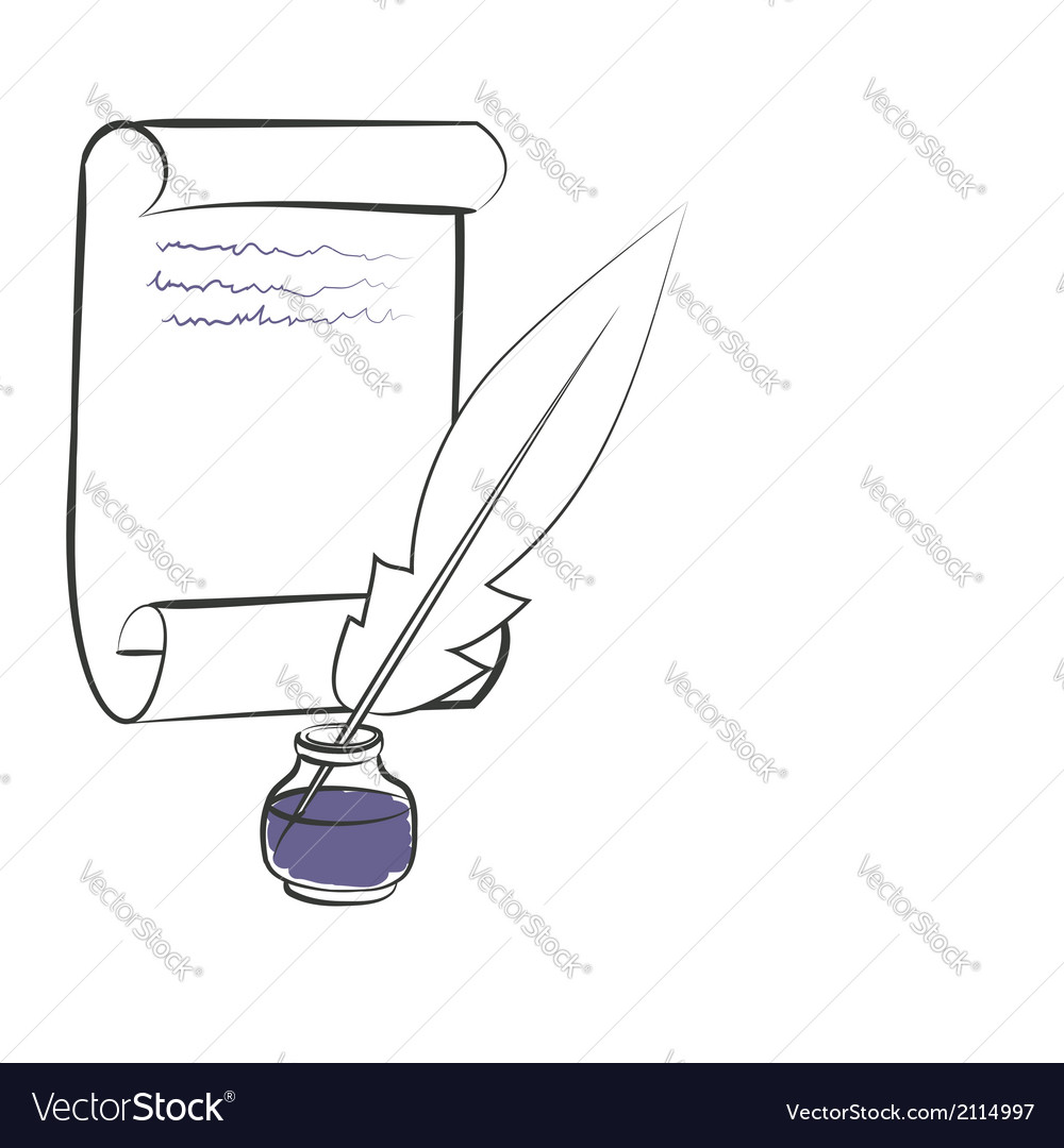 Inkwell pen paper vector | Price: 1 Credit (USD $1)