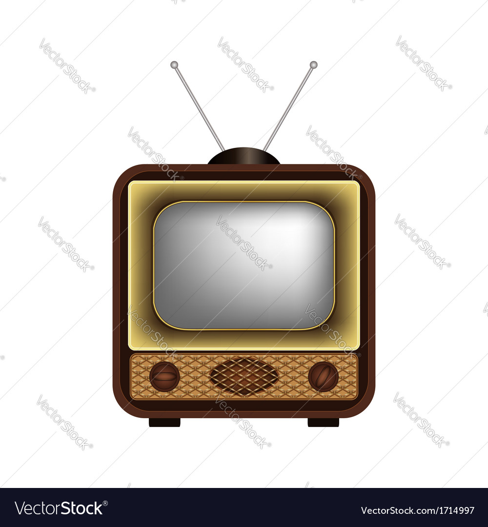 Retro tv on a white background vector | Price: 1 Credit (USD $1)