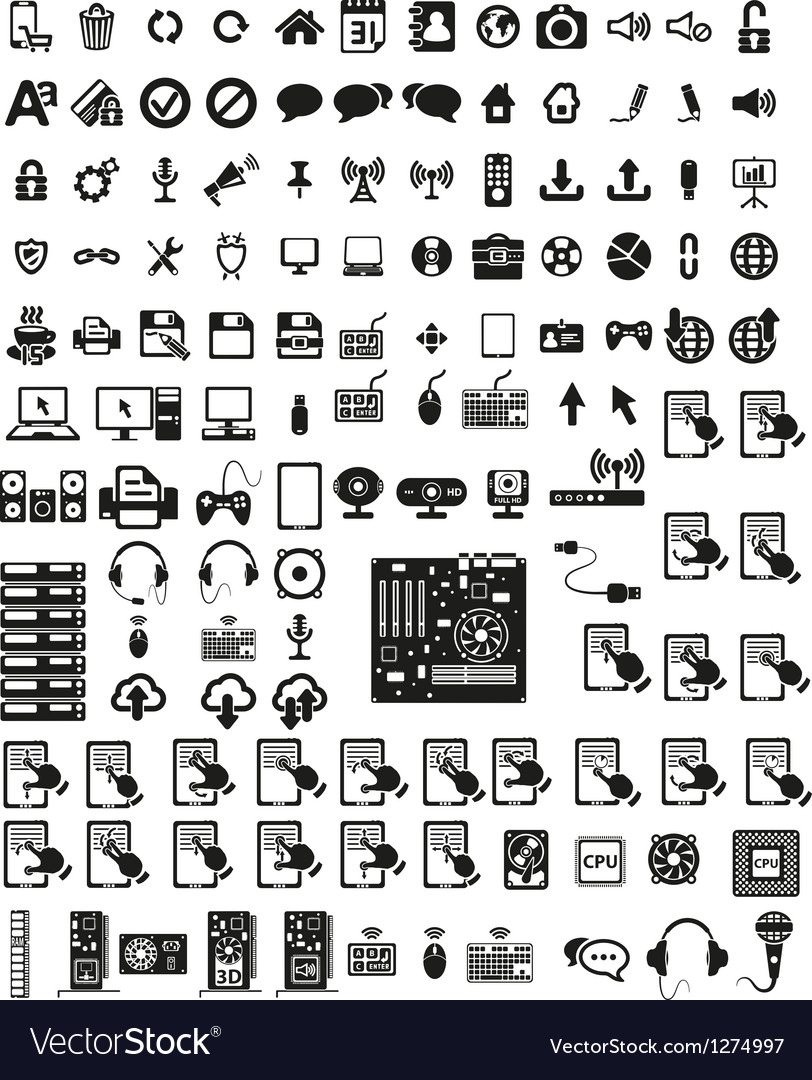 Set of computers and hardware icons vector | Price: 3 Credit (USD $3)