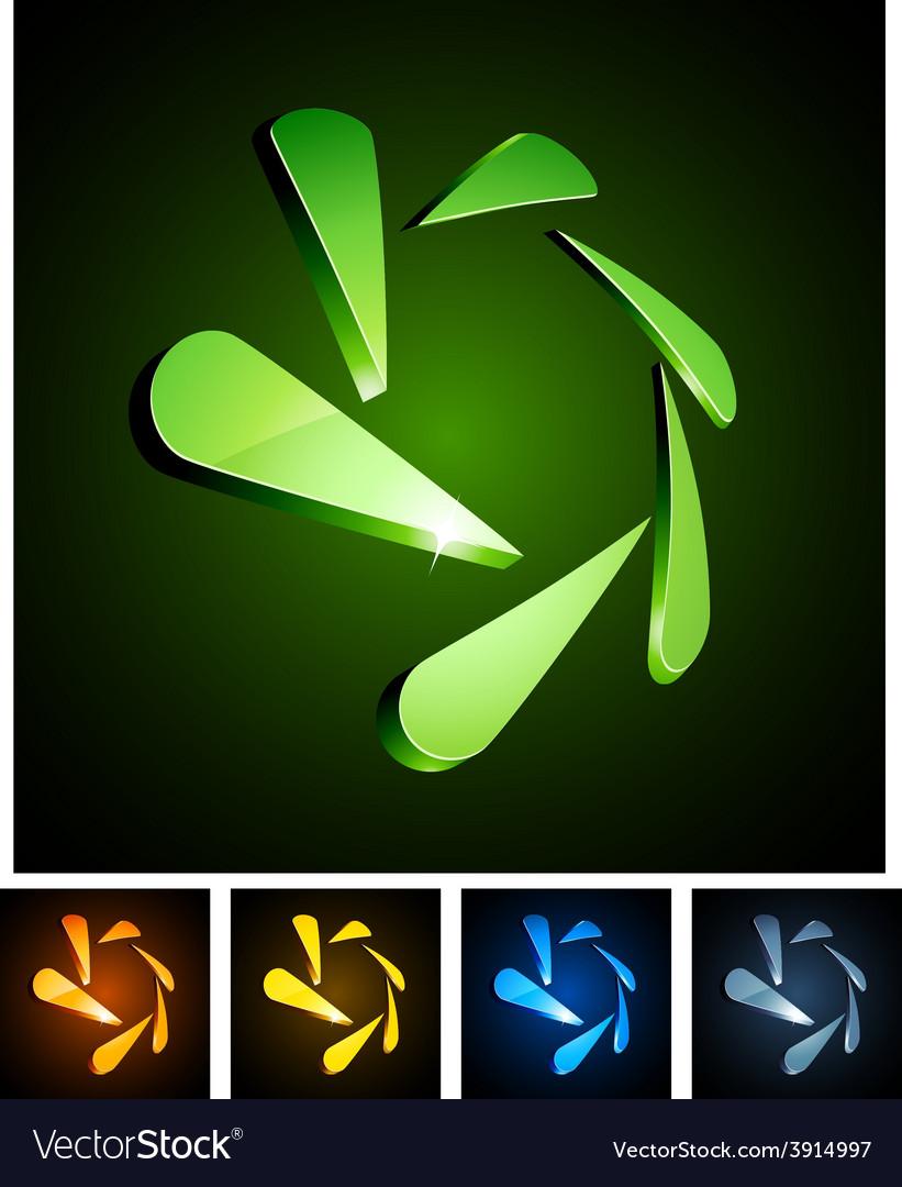 Snowflake vibrant emblems vector | Price: 1 Credit (USD $1)
