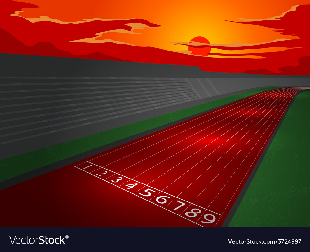 Stadium and racetrack in dusk vector | Price: 1 Credit (USD $1)
