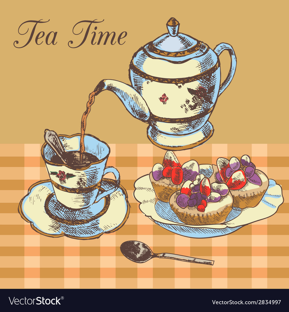 Teapot and cup english tea vector | Price: 1 Credit (USD $1)