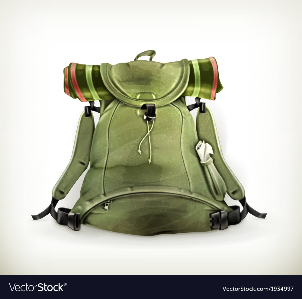 Travel backpack old style on white vector | Price: 3 Credit (USD $3)