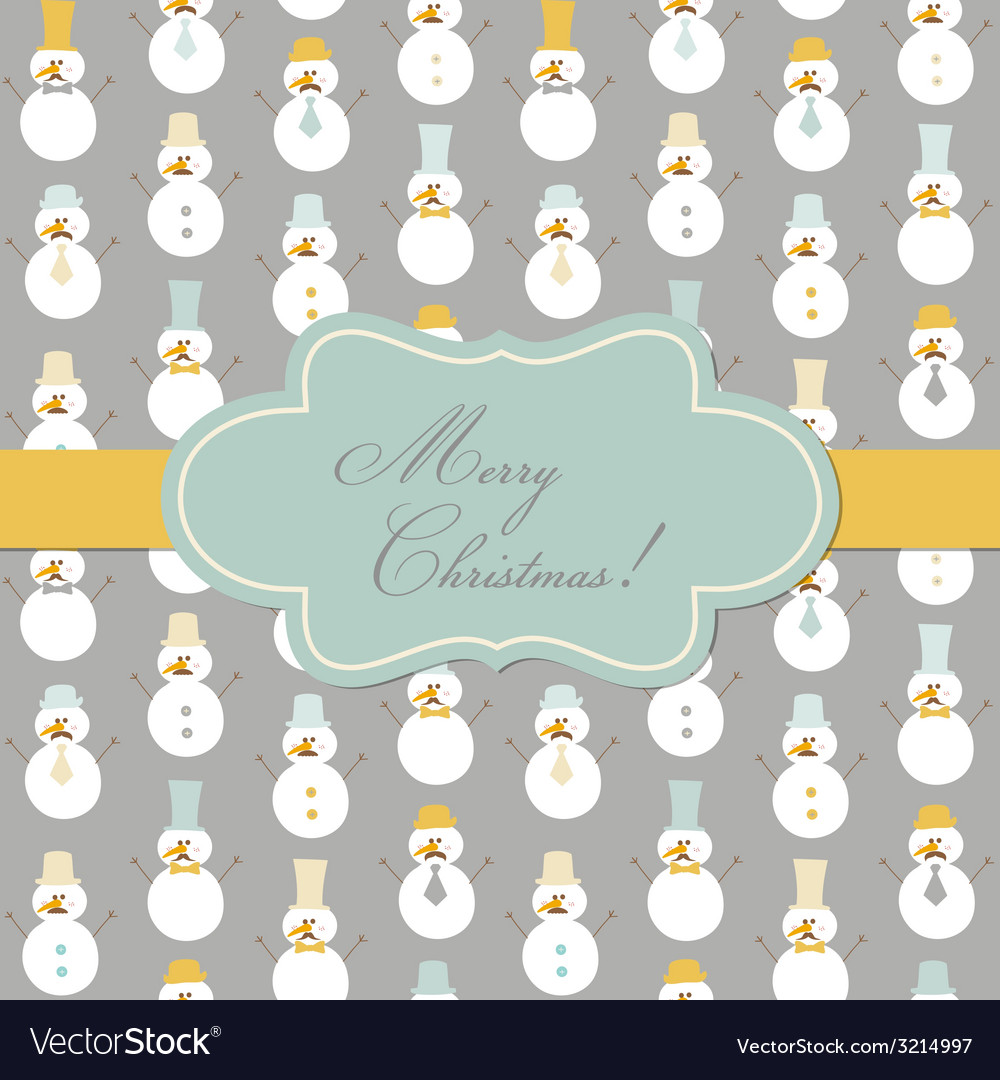 Vintage christmas card - retro snowman vector | Price: 1 Credit (USD $1)