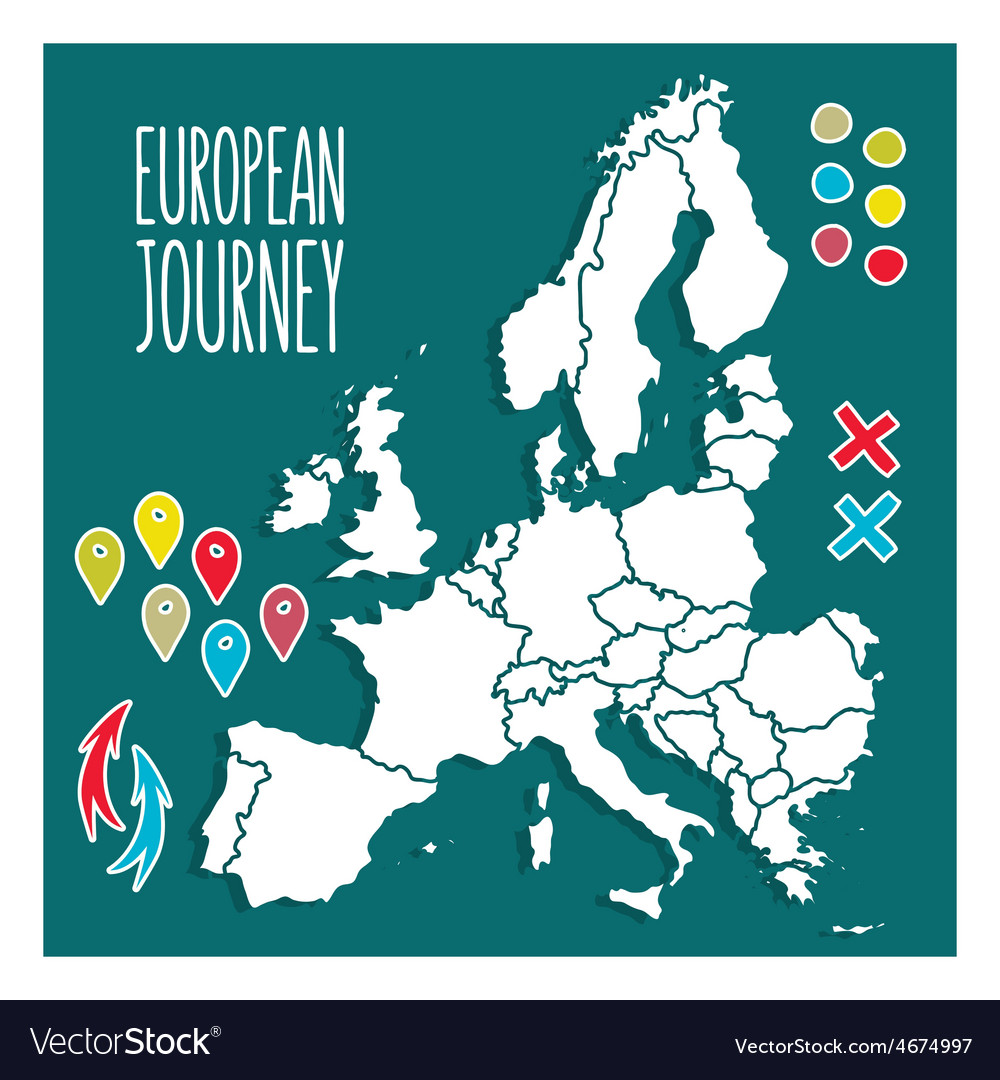 Vintage hand drawn europe travel map with pins vector   Price: 1 Credit (USD $1)