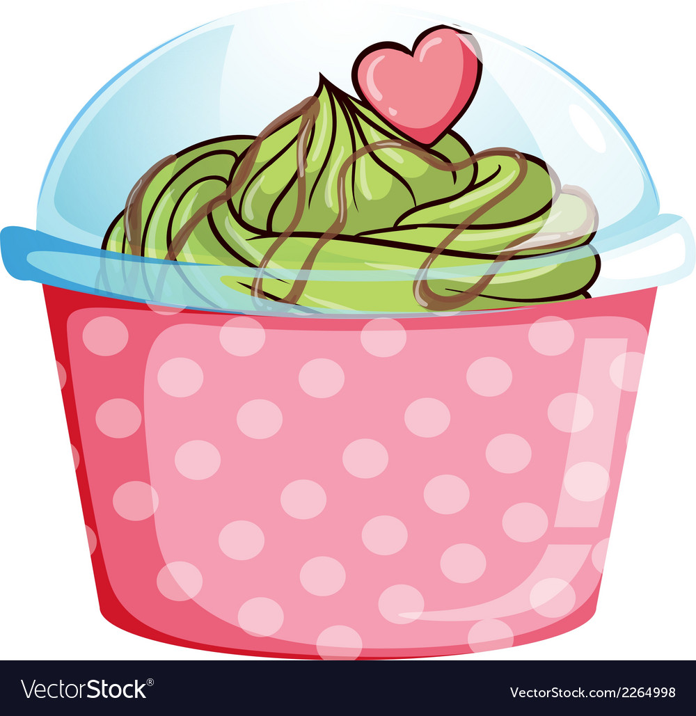 A pink disposable cupcake container vector | Price: 1 Credit (USD $1)